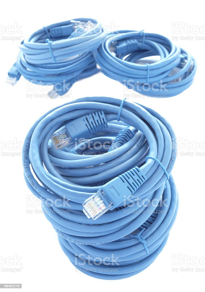 Blue patch cords royalty-free stock photo