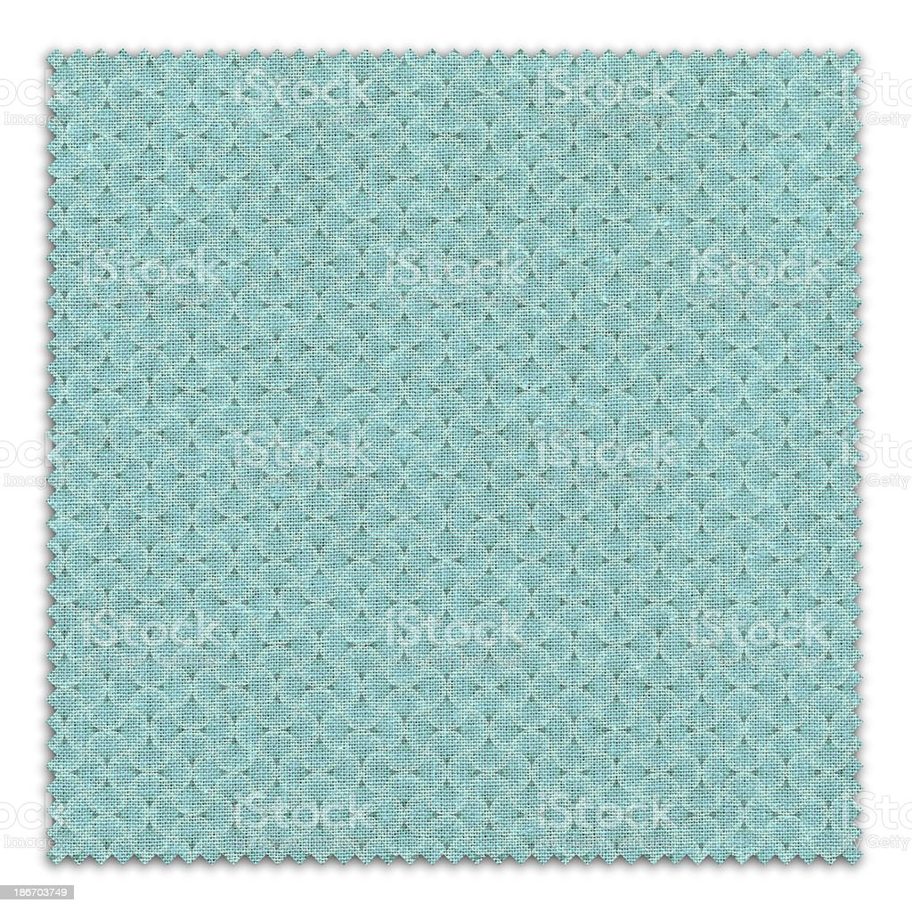 Blue Patterned Fabric Swatch (Clipping Path) royalty-free stock photo