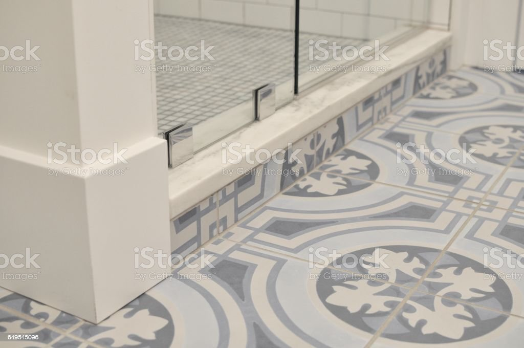 Blue Patterned Floor Tiles In Bathroom Stock Photo More Pictures
