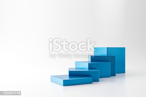 1154986671 istock photo Blue pedestal of stairs or podium stand isolated on white background with business growth concept. Modern blue ladder display. 3D rendering. 1224371718