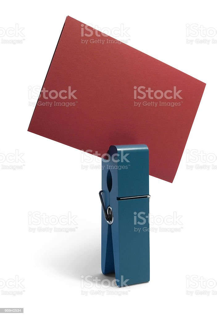 blue peg and red card royalty-free stock photo