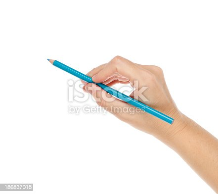 Blue pencil in woman's hand. Studio isolated on white background.Please also see: