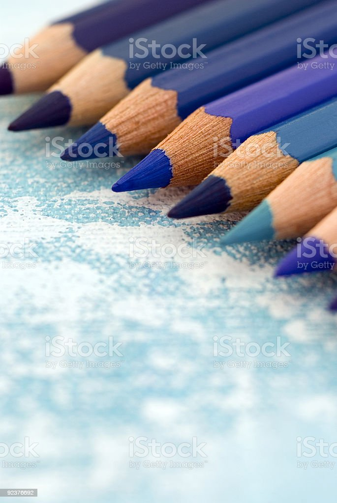 blue pencils in a row royalty-free stock photo