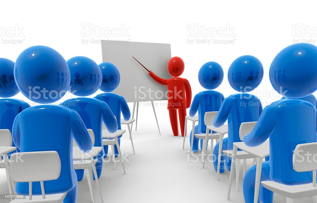 Blue people figurines listening to red figurine lecture stock photo
