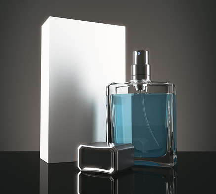 istock Blue perfume with packaging 831216724