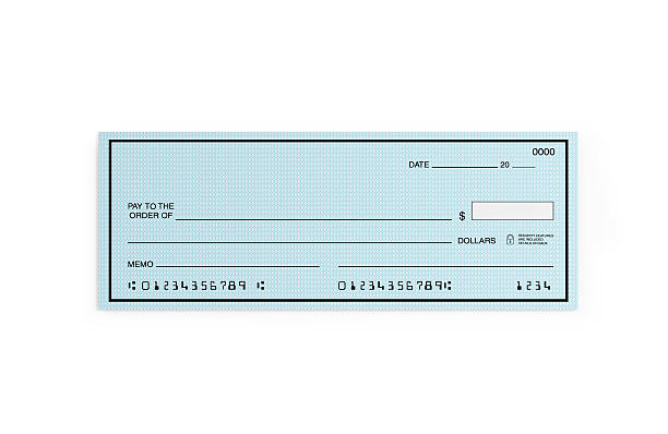 blue personal check with altered numbers isolated on white - cheque bancaire vierge photos et images de collection