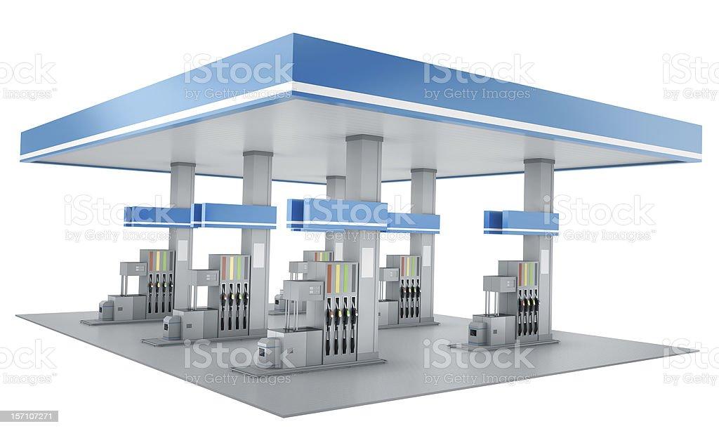 Blue Tankstelle Gebäude auf einem weißen Hintergrund. – Foto