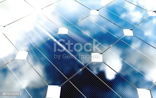 istock Blue photovoltaic panels with cloudy sky reflection. 3d renderin 527211212