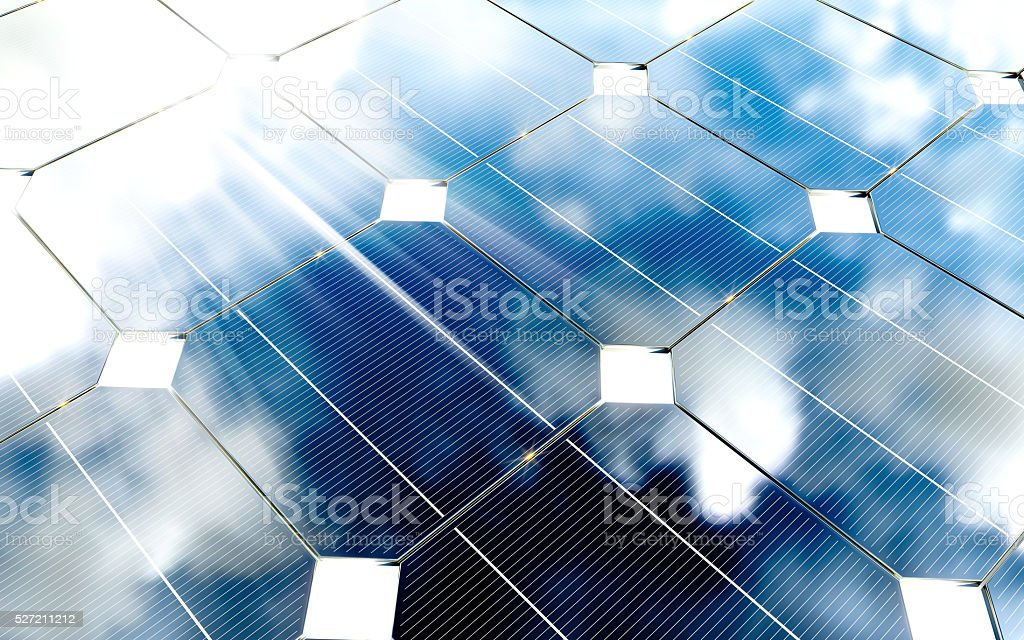 Blue photovoltaic panels with cloudy sky reflection. 3d renderin stock photo