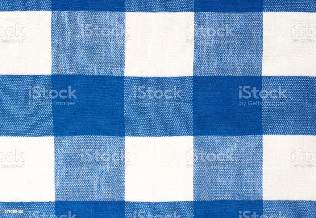 Blue picnic cloth textile background. stock photo