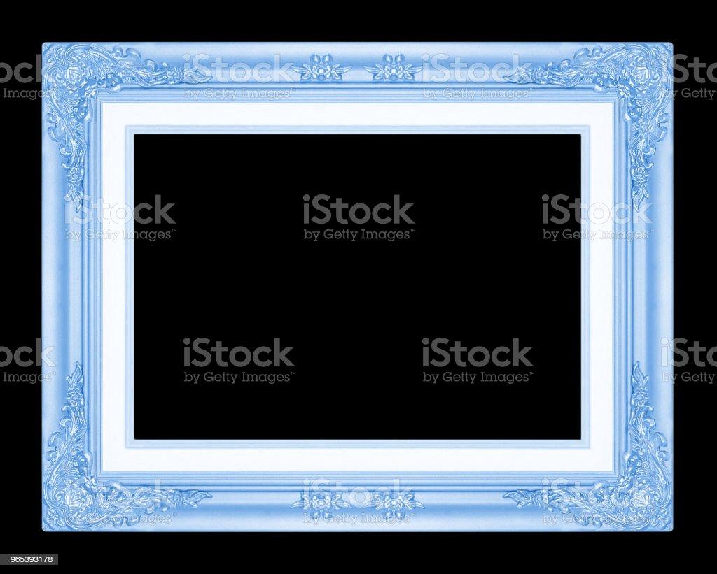 blue picture frame isolated on black background. zbiór zdjęć royalty-free