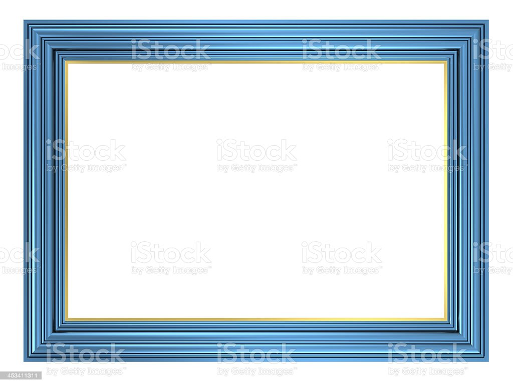 Blue picture frame isolated on white background. stock photo