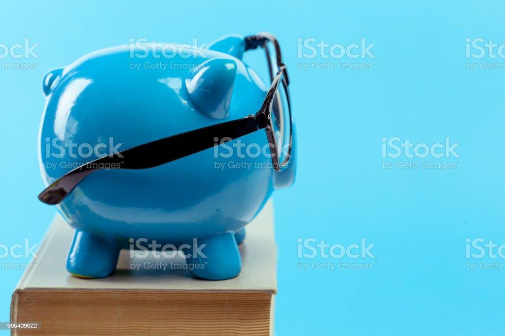 Blue piggy bank or money box zbiór zdjęć royalty-free