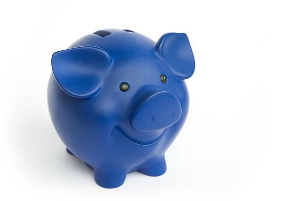 Blue Piggy Bank stock photo