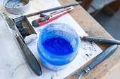 dry pigment and tools for painting