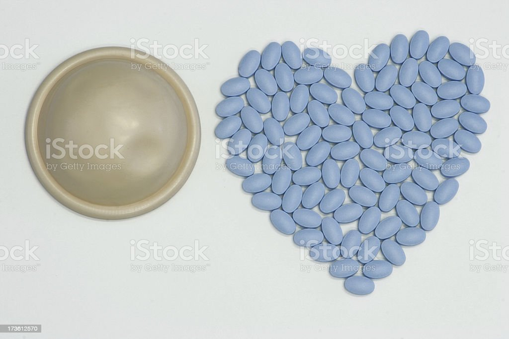 Blue Pill Heart and Diaphragm stock photo