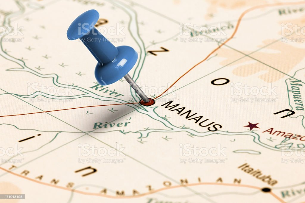 Blue Pin Pointed On A Paper Map At Manaus Stock Photo - Manaus map