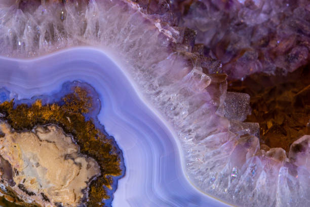 Blue Pink Geode Close UP Blue Pink Geode Close UP geode stock pictures, royalty-free photos & images