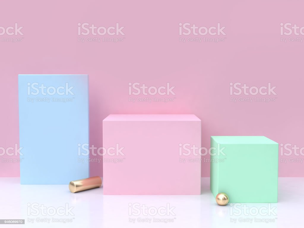 blue pink green minimal abstract background 3d rendering stock photo