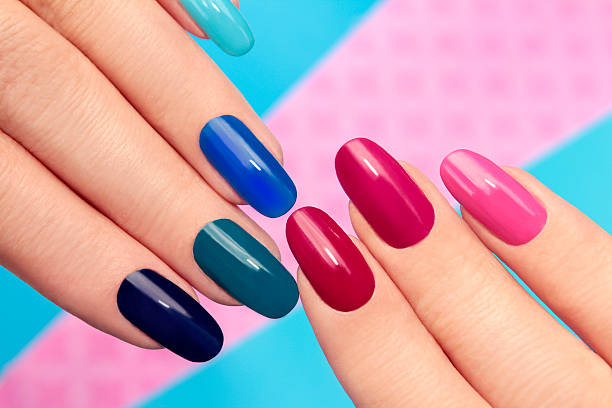Blue pink manicure. stock photo