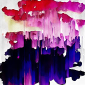 Blue, pink purple, red, yellow and white abstract watercolor painting
