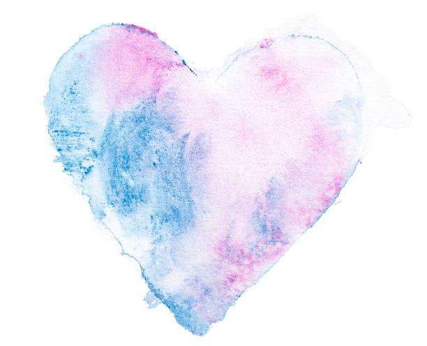 Blue-pink Wasserfarben Gemalte Herz – Foto