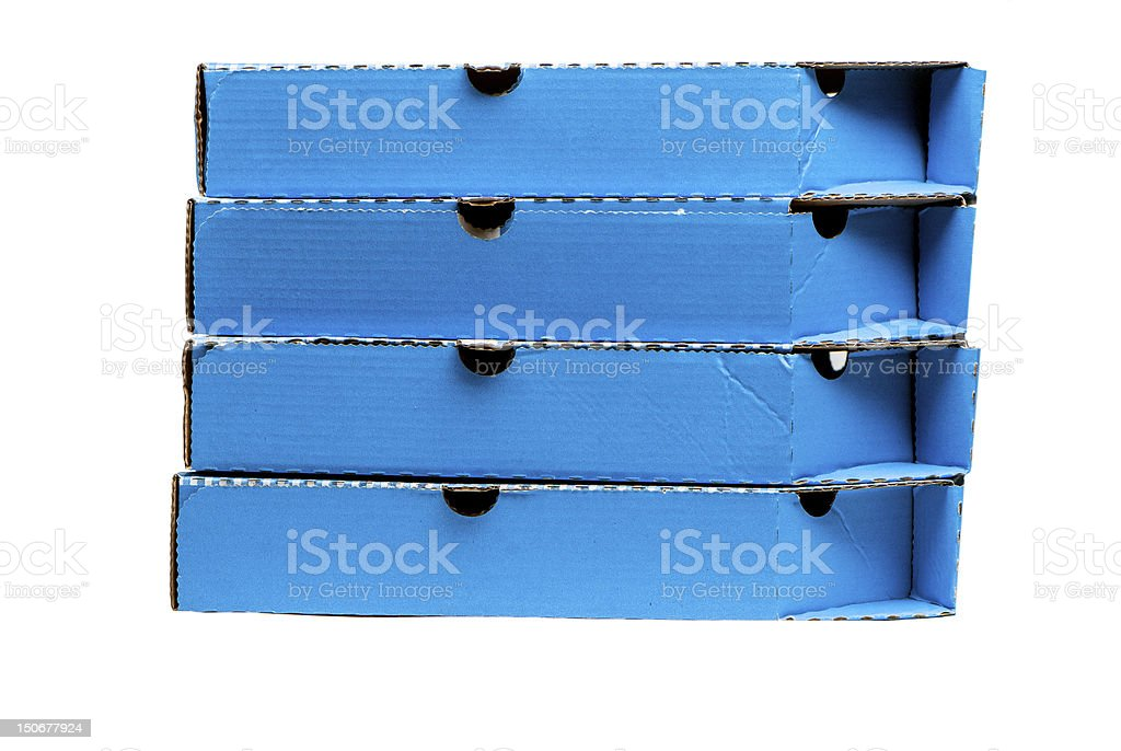 Blue Pizza Boxes royalty-free stock photo