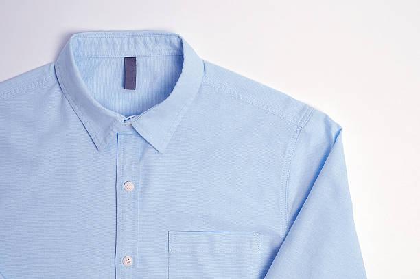 blue plain cotton shirt white background - camisa - fotografias e filmes do acervo