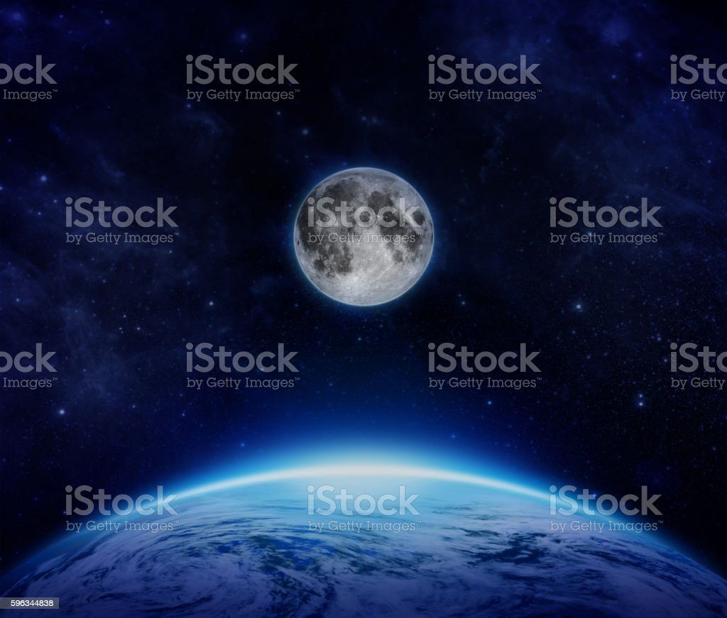 Blue Planet Earth, moon and stars from space on sky Lizenzfreies stock-foto