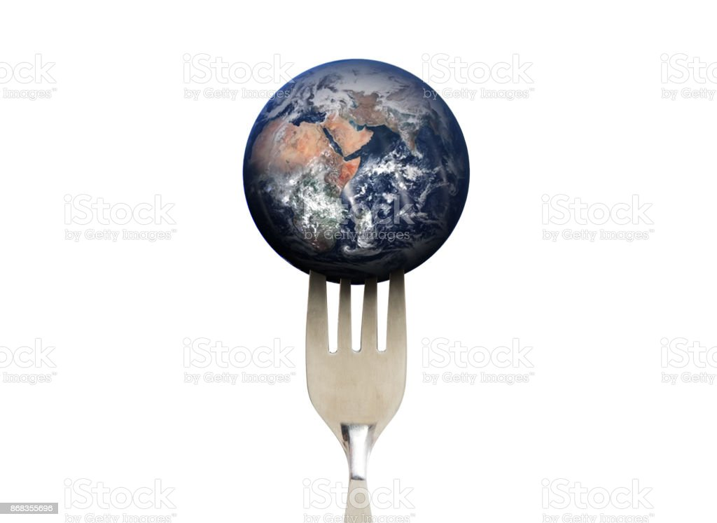 Blue planet earth with fork, isolated on white background, environmental and food concept. Elements of this image are furnished by NASA stock photo