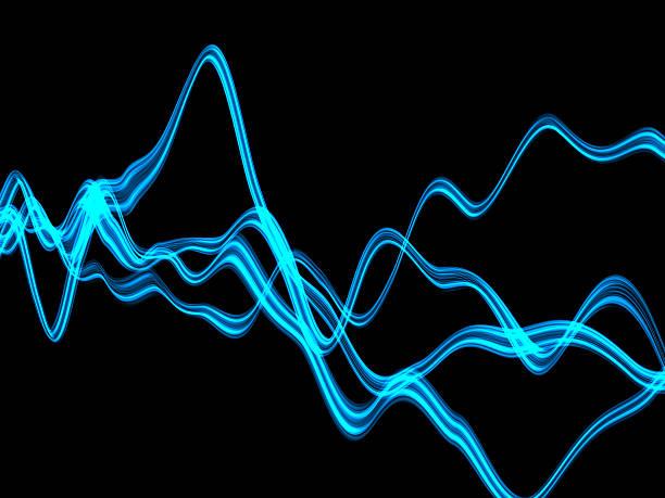 blue plasma across a dark background - 聲波 個照片及圖片檔