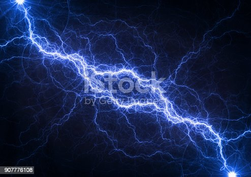 istock Blue plasma lightning, abstract electrical background 907776108