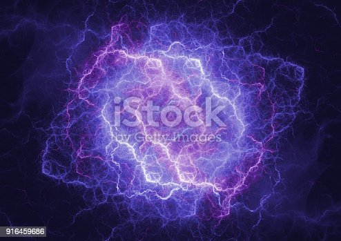 istock Blue plasma lightning cloud, electrical storm abstract 916459686
