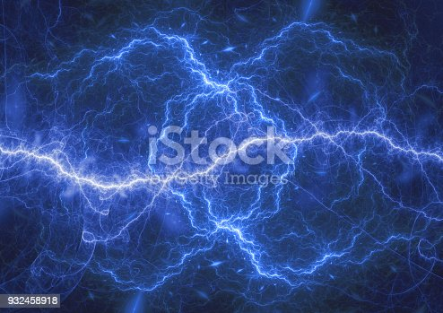 istock Blue plasma lightning storm, electrical abstract background 932458918