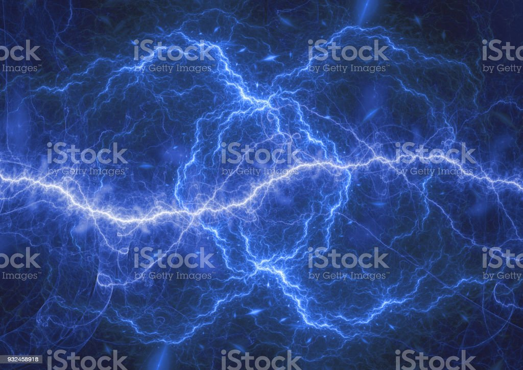 Blue plasma lightning storm, electrical abstract background stock photo