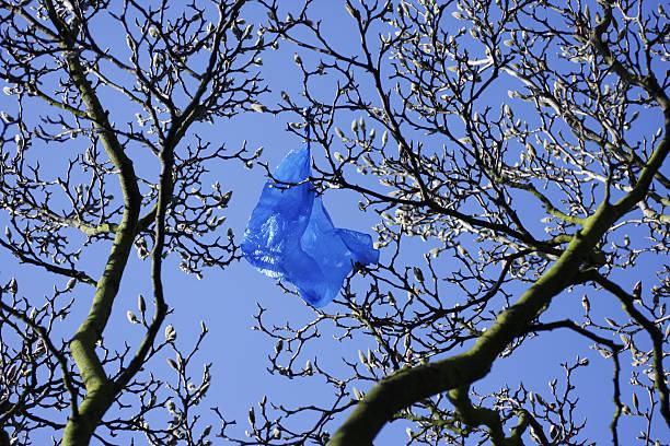 blue plastiktüte umweltproblem blowing in wind - windbeutel stock-fotos und bilder