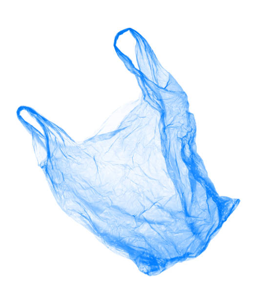 Blue plastic bag on white background. Isolated Blue plastic bag on white background. Isolated object environmental damage stock pictures, royalty-free photos & images