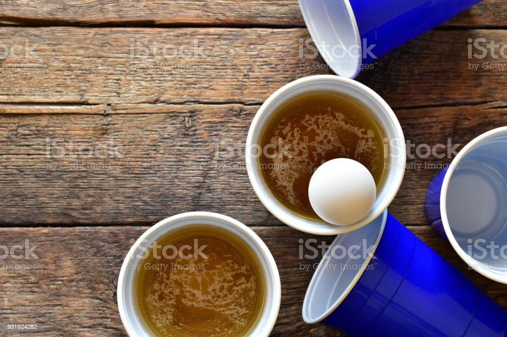 Blue Plastic Beer Cups stock photo