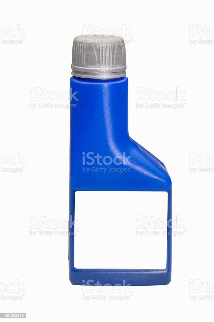 Blue plastic bottle with blank label isolated stock photo