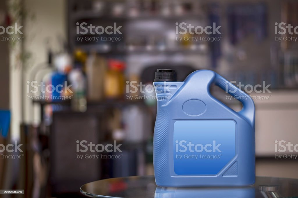 Blue plastic canister with blank  label stock photo