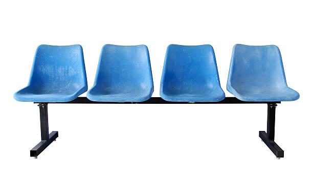 azul cadeiras de plástico (traçado de recorte) - banco assento - fotografias e filmes do acervo