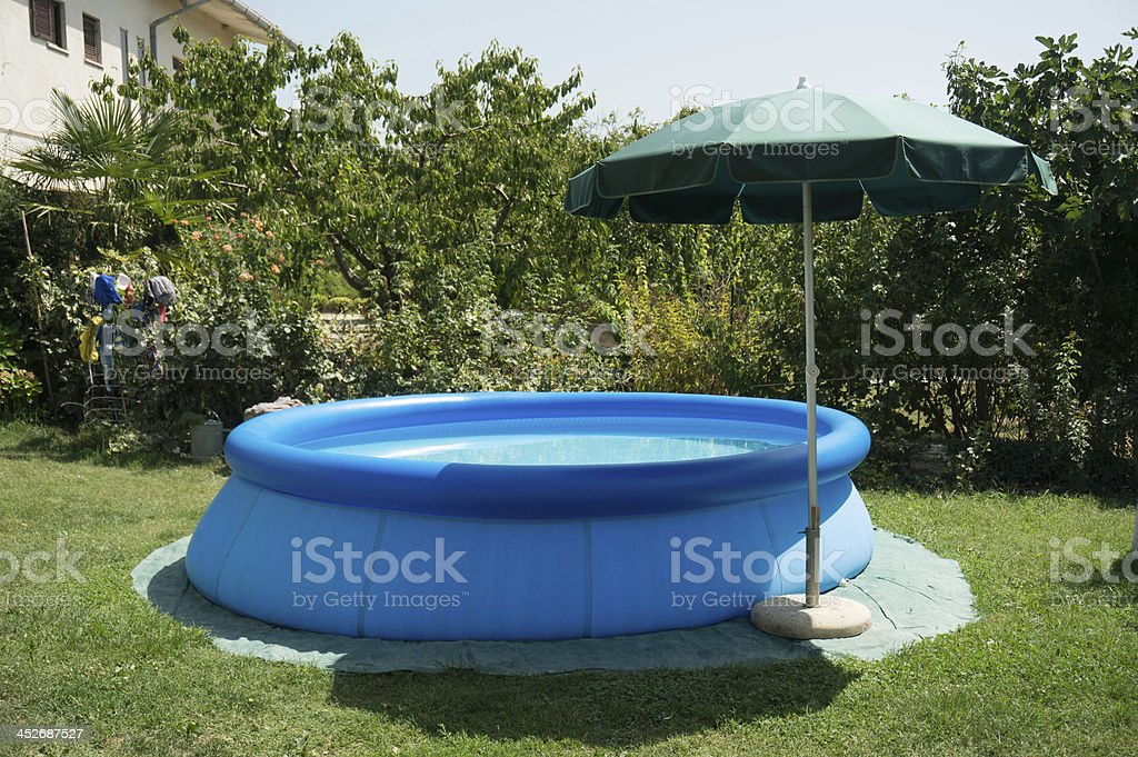 blue plastic pool stock photo