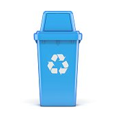 istock Blue plastic recycle bin 3D 1220452831
