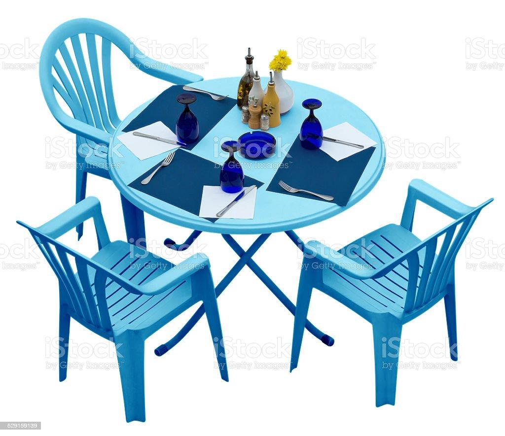 Photo libre de droit de Bleu Une Table Et Des Chaises En ...