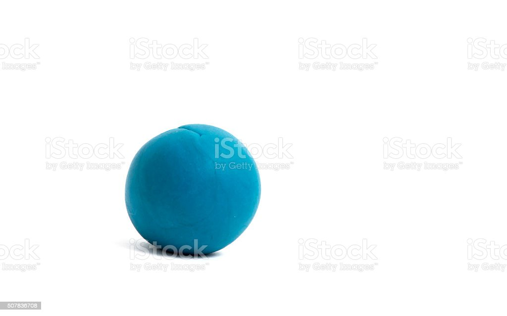 blue  plasticine ball on white background stock photo