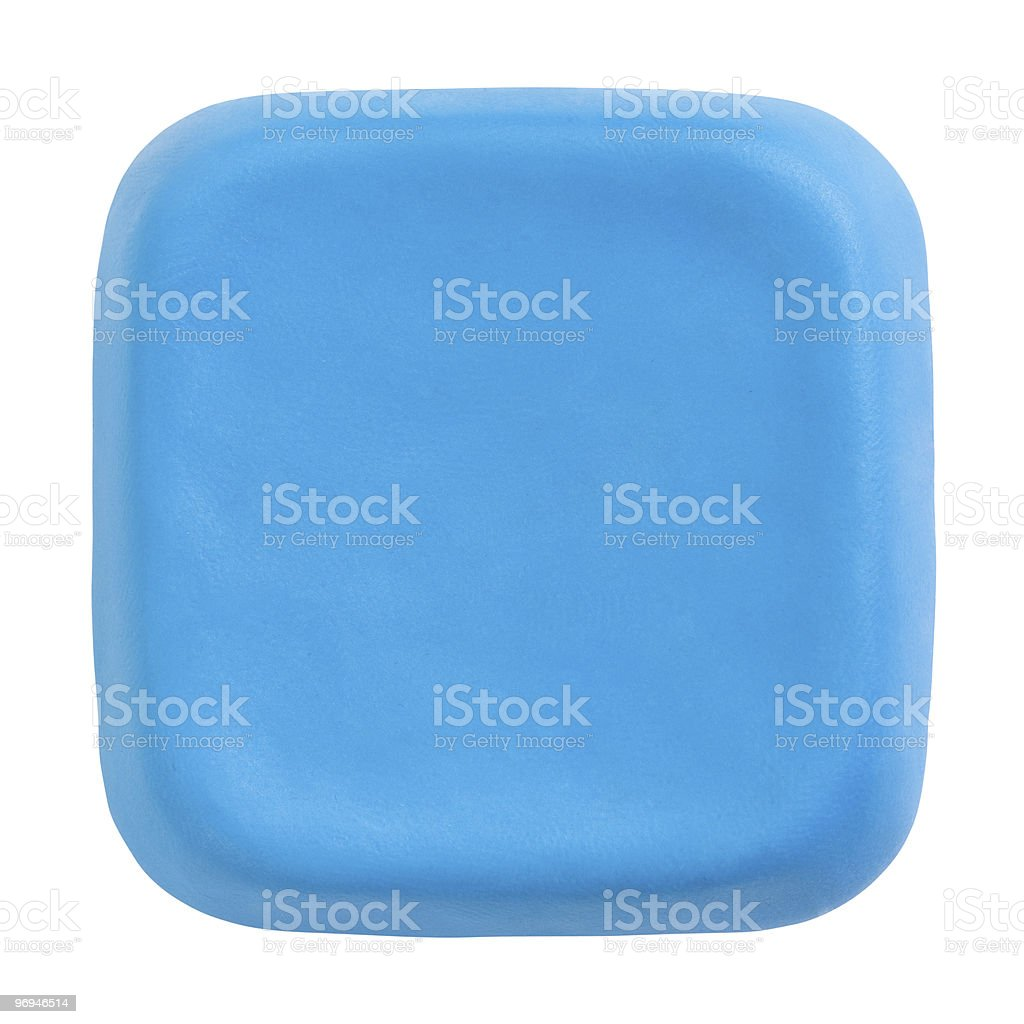 Blue plasticine button royalty-free stock photo