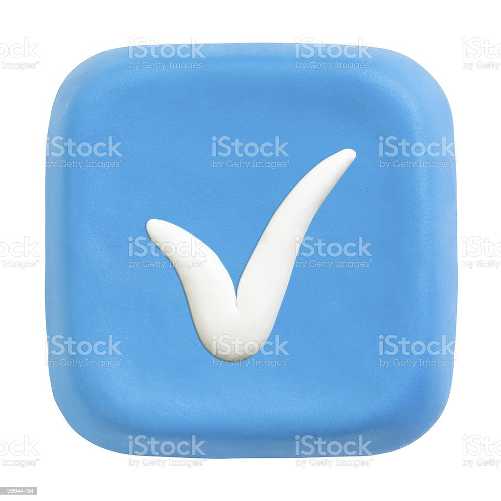 Blue plasticine button with checked icon royalty-free stock photo
