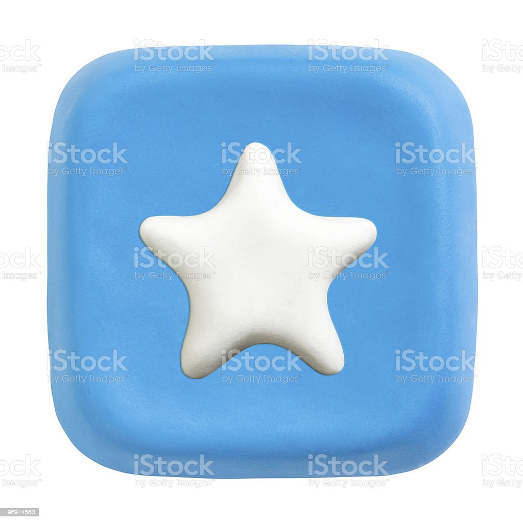 Blue plasticine button with favourites icon royalty-free stock photo