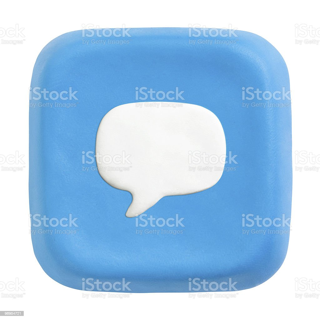 Blue plasticine button with quote icon royalty-free stock photo