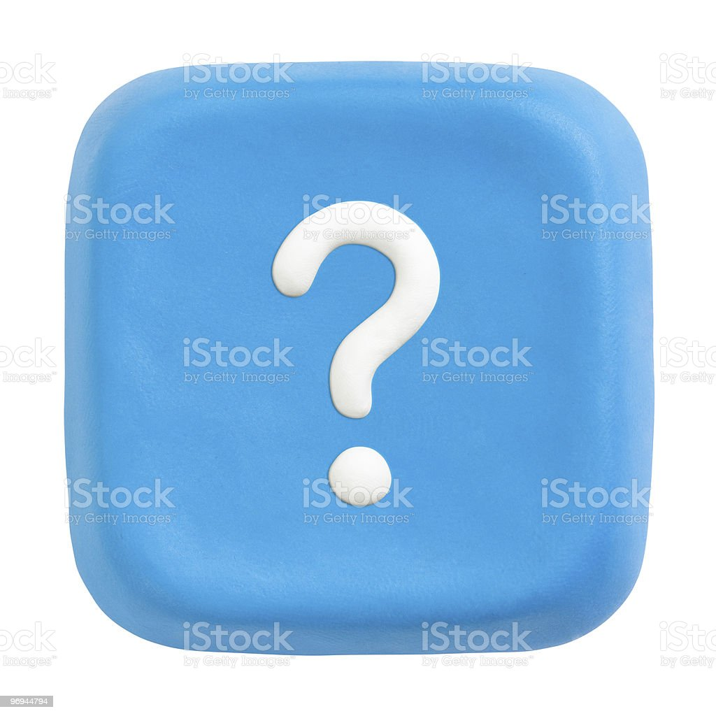 Blue plasticine button with what icon royalty-free stock photo